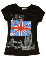 Black union jack and London images fashion t-shirt
