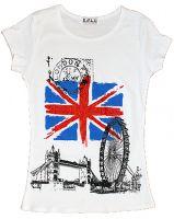 White union jack and London images fashion t-shirt