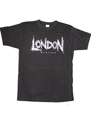 London scribble writing black t-shirt